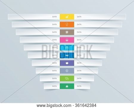 10 Graph Data Infographics Tab Paper Index Template. Vector Illustration Abstract Background. Can Be