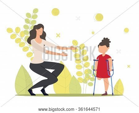 Injured Child, Kid With Disability Rehabilitation, Family Support Trendy Flat Vector Concept. Little