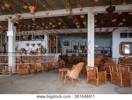 Camacha, Madeira, Portugal - April 19, 2018: Wicker Baskets On Sale In A Factory Shop In Camacha On
