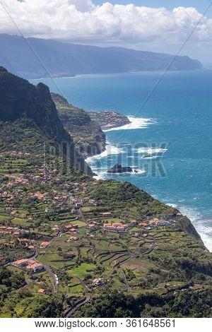 Arco De São Jorge On North Coast Madeira Seen From Miradouro Beira Da Quinta, Madeira, Portugal.