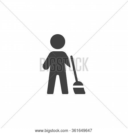 Janitor Man Sweeping Vector Icon. Filled Flat Sign For Mobile Concept And Web Design. Man With A Bro