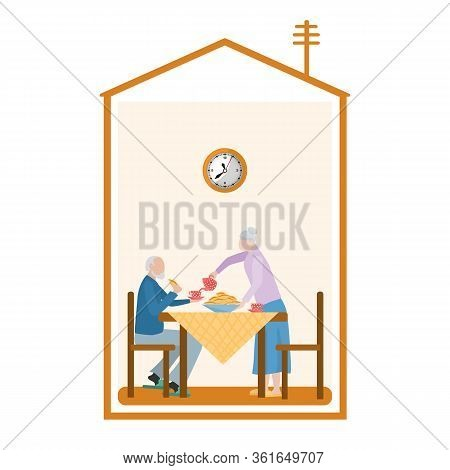 An Elderly Couple Is Drinking Tea At A Table, The Silhouette Of A House. Concept: Spending Time At H