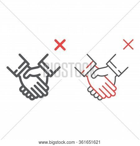 Don T Handshake Color Line Icons, Coronavirus And Microorganism, Contagion Handshake Sign, Vector Gr
