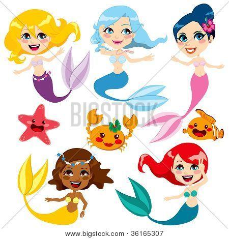 Cute Colorful Mermaids
