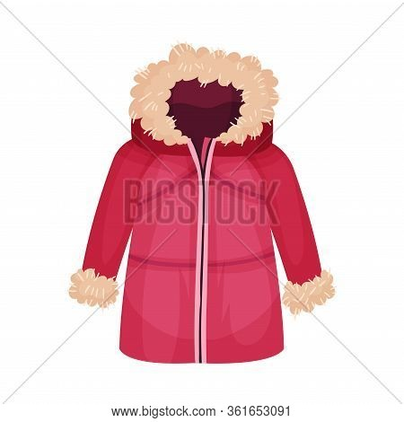 Zippered Parka Or Coat With Furry Hood As Womenswear Vector Illustration