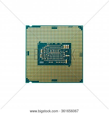 Modern Cpu Processor Chip Isolated On White Background. Select Focus And With Clipping Path