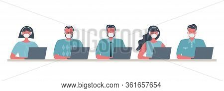Call Center Workers During The Coronavirus Epidemic. Young Men And Women In Medical Masks And Headph