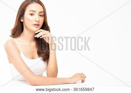 Beauty Asian Women  Touching Soft Chin Portrait Face With Natural Skin And Skin Care Healthy Hair An