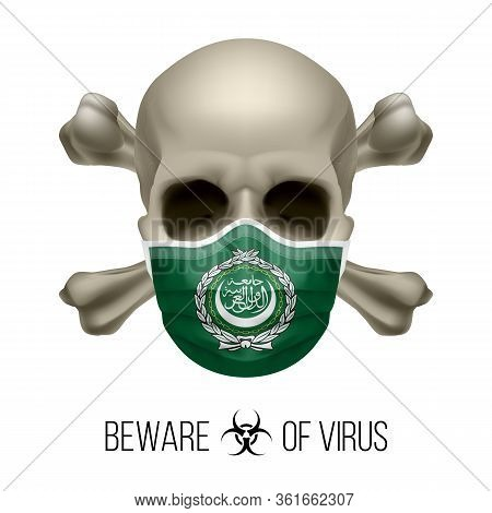 Human Skull With Crossbones And Surgical Mask In The Color Of National Flag Arab League. Mask In For