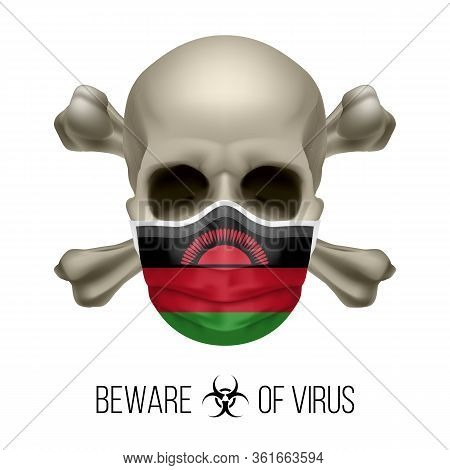 Human Skull With Crossbones And Surgical Mask In The Color Of National Flag Malawi. Mask In Form Of
