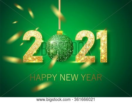 Happy New Year 2021 Banner.golden Green Vector Luxury Text 2021 Happy New Year. Gold Festive Numbers