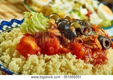 Tunisien Seskssou Bel Hout -ethnic  Fish  Couscous Close Ip
