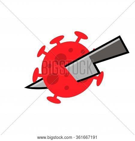 Opponent Covid-19, Flat Design. Virus Wuhan From China. Vector Illustration On White Background