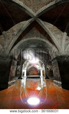 EL JADIDA MOROCCO - SEPTEMBER 23 2019: Portuguese Cistern. Museum El Jadida Cistern Morocco. Ancient European Historical Buildings