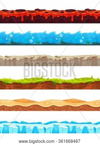 Set Of Seamless Isolated Landscape Images With Patterns Of Ice Magma Stones Land Relief For Game Use