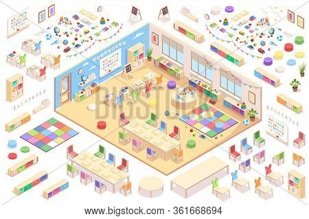 Kindergarten Interior Constructor, Isometric Elements Of Furniture, Education Supplements And Toys.