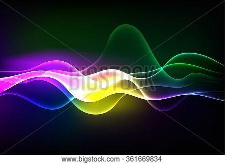 Modern Speaking Sound Waves Oscillating Dark Blue Light, Abstract Technology Background. Vector Illu