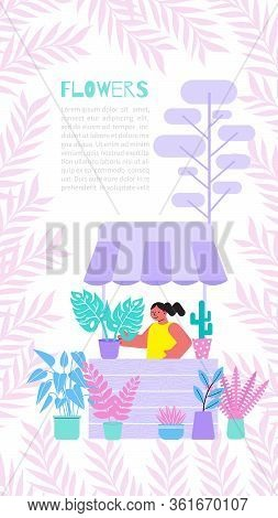 Floristry Vertical Banner With Flat Background Editable Text And Female Character With Stall And Pla