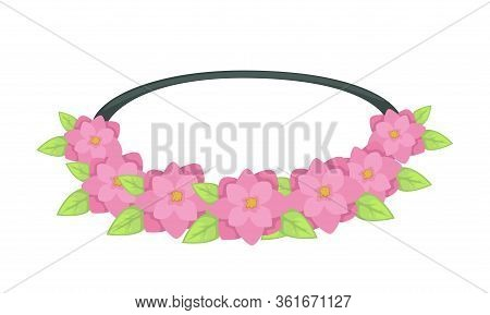 Fashionable Hairband Or Scrunchie With Flowers And Leaves
