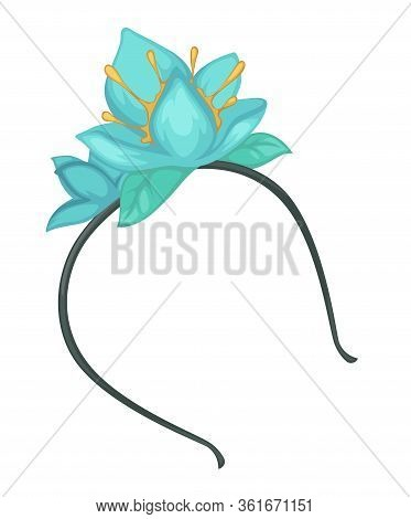 Hairband Accessory With Flower Decoration, Plastic Hoop Vector