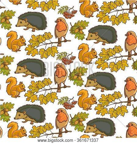 Autumn Foliage Of Rowanberry And Animals Seamless Pattern