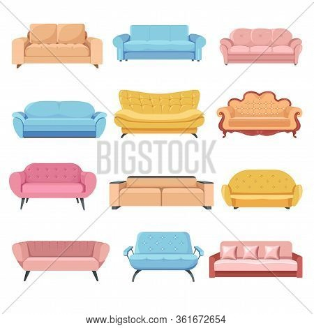 Comfortable Sofa Set, Couches And Armchairs Furniture Vector