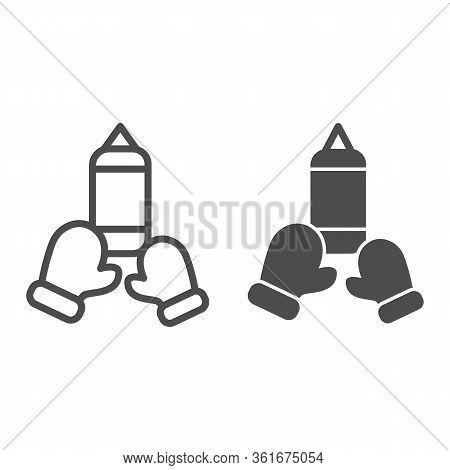 Punching Bag And Gloves Line And Solid Icon. Boxing Symbol Illustration Isolated On White. Sport Box