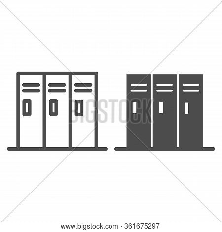 Sport Lockers Line And Solid Icon. Locker Or Cabinet For Gym Or Stadium Illustration Isolated On Whi