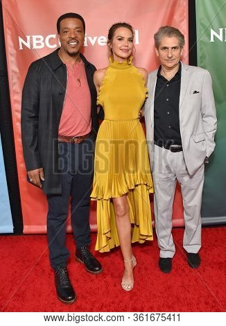 LOS ANGELES - JAN 11:  Russell Hornsby, Arielle Kebbel and Michael Imperioli on the red carpet at the NBCUniversal Winter TCA 2020 on January 11, 2020 in Pasadena, CA