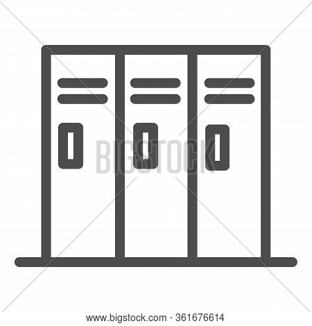 Sport Lockers Line Icon. Locker Or Cabinet For Gym Or Stadium Illustration Isolated On White. Three