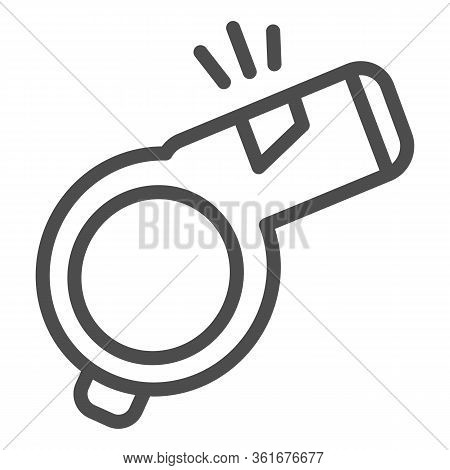 Whistle Line Icon. Sport Referee Whistle Illustration Isolated On White. Sports Blower Outline Style