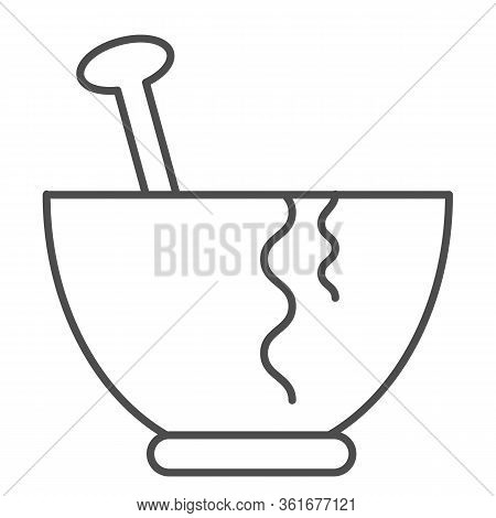 Plate Thin Line Icon. Plate With Spoon Illustration Isolated On White. Pasta Plate Outline Style Des