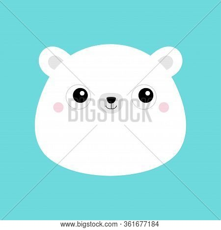 White Bear Cub Face Head Icon. Cute Kawaii Animal. Cartoon Funny Baby Character. Kids Print For Post