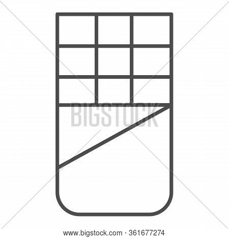 Chocolate Thin Line Icon. Open Chocolate Bar Illustration Isolated On White. Opened Chocolate Block
