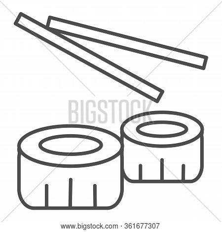 Sushi Thin Line Icon. Chinese Sushi Food Illustration Isolated On White. Sushi Rolls With Chopsticks