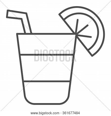 Cocktail Thin Line Icon. Cocktail Glass With Lemon Slice Illustration Isolated On White. Alcohol Coc