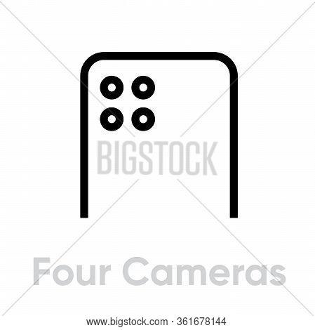 Four Cameras Phone Icon. Editable Line Vector.