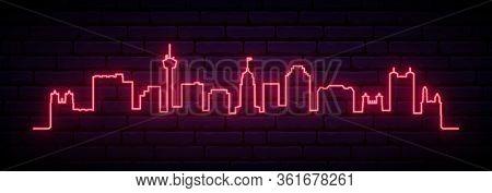 Red Neon Skyline Of San Antonio City. Bright San Antonio Long Banner. Vector Illustration.