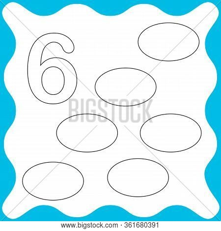 Card Number 6 (six) And Oval. Learning Numbers And Geometric Shapes, Mathematics. Game For Children.