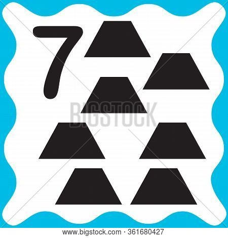 Card Number 7 (seven) And Trapeze. Learning Numbers And Geometric Shapes, Mathematics. Game For Chil