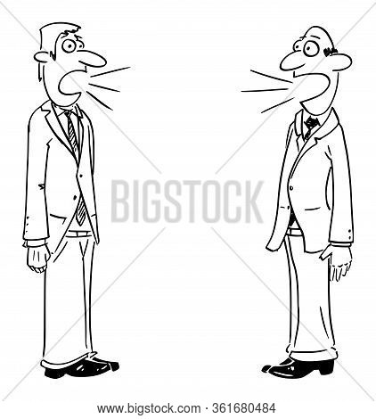Vector Funny Comic Cartoon Drawing Of Two Businessmen Or Men Talking. Concept Of Discussion Or Commu