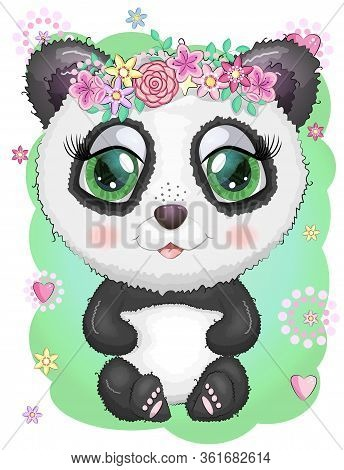Cute Panda Cartoon Girl Face With Bright Expressive Eyes With Flowers And Stars. Romantic Panda With