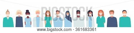 Doctors, Nurses, Healthcare Workers, Medical Staff. Multiethnic Group Of People In Medical Masks. Co