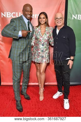 LOS ANGELES - JAN 11:  Terry Crews, Alesha Dixon and Howie Mandel on the red carpet at the NBCUniversal Winter TCA 2020 on January 11, 2020 in Pasadena, CA