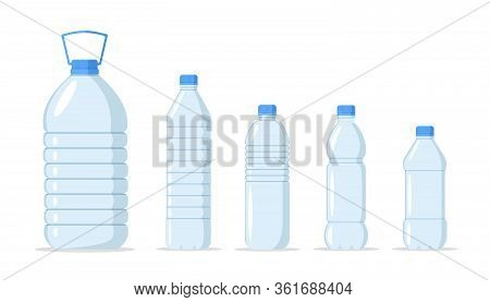 Plastic Water Bottle Set. Container Different Plastic Bottle Set With Fresh And Clean Water