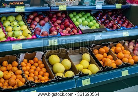 Torrevieja, Valenciana, Spain - Apr 17 2020 : Fruit And Vegetables For Sale In Empty Shop Due To Cov
