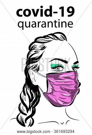 Woman In Face Mask Virus Covid19, Epidemy. Protective Resperatory Mask.