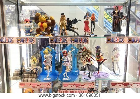 Tokyo, Japan - December 1, 2016: Gaming Toy Figurines Collectible Store In Akihabara District Of Tok