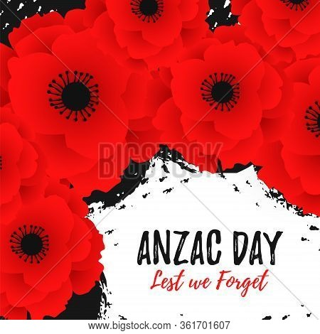 Anzac Day Card Template With Red Poppy Flower. Lest We Forget Text. Remembrance Day On Hand Drawing