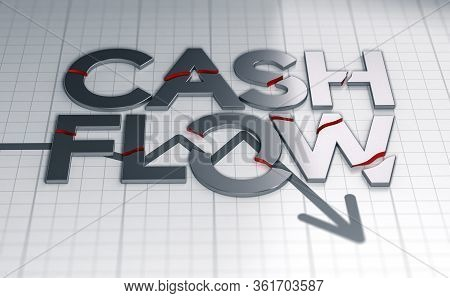 3d Illustration Of The Text Cash Flow Over A Crisis Chart. The Words Are Broken.